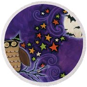 Owl With Mask Round Beach Towel