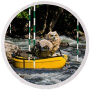 Owlets In A Canoe Round Beach Towel