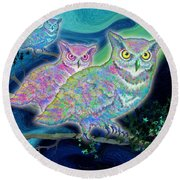 Round Beach Towel featuring the painting Owls At Midnight  Square by Teresa Ascone