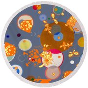 Round Beach Towel featuring the mixed media Owls Hangin Around by Beth Saffer