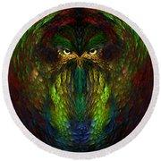 Round Beach Towel featuring the digital art Owly Spirit - Fantasy Art By Giada Rossi by Giada Rossi