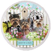 Owned By Yorkies II Round Beach Towel