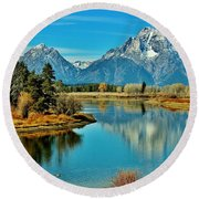 Round Beach Towel featuring the photograph Oxbow Autumn by Benjamin Yeager