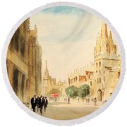 Round Beach Towel featuring the painting Oxford High Street by Bill Holkham