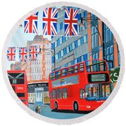 Round Beach Towel featuring the painting Oxford Street- Queen's Diamond Jubilee  by Magdalena Frohnsdorff