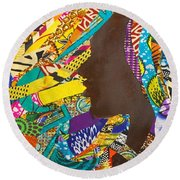 Round Beach Towel featuring the tapestry - textile Oya I by Apanaki Temitayo M