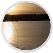 Oyster Bay Sunset Round Beach Towel by John Telfer