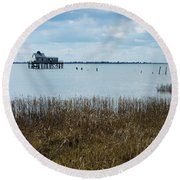 Oyster Shack And Tall Grass Round Beach Towel