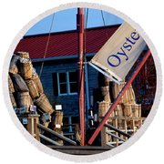 Oystering History At The Maritime Museum In Saint Michaels Maryland Round Beach Towel