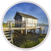 Oysterponds Creek Orient Ny Round Beach Towel