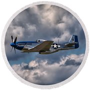 P-51 Mustang Round Beach Towel by Carsten Reisinger