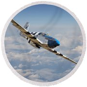 P51 Mustang - Symphony In Blue Round Beach Towel