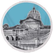Pa Capitol Building Round Beach Towel