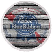 Pabst Blue Ribbon Beer Round Beach Towel