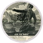 Round Beach Towel featuring the digital art Pabst by Cathy Anderson