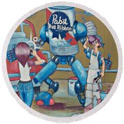 Pabst Mural In The Loop Round Beach Towel