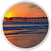 Pacific Beach Pier - Ex Lrg - Widescreen Round Beach Towel