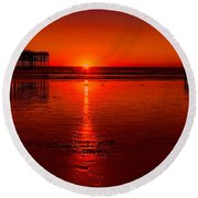 Pacific Beach Sunset Round Beach Towel