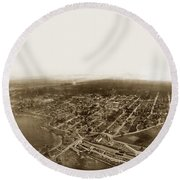 Pacific Grove 1200 From Feet Above Lovers Point And Monterey Bay 1906 Round Beach Towel