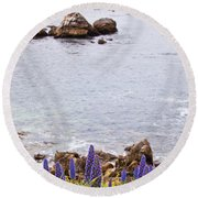 Pacific Grove Coastline Round Beach Towel by Melinda Ledsome