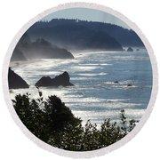 Pacific Mist Round Beach Towel by Karen Wiles