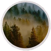 Pacific Northwest Morning Mist Round Beach Towel