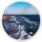 Pacific Ocean And The Columbia River Round Beach Towel
