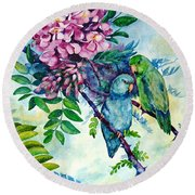 Pacific Parrotlets Round Beach Towel