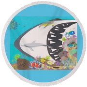 Pacific Peril Round Beach Towel