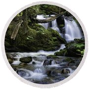 Packer Falls And Creek Round Beach Towel
