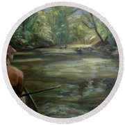 Round Beach Towel featuring the painting Paddle Break by Donna Tuten