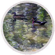 Paddling In A Monet Round Beach Towel