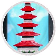Round Beach Towel featuring the mixed media Pagoda by Ron Davidson