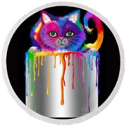 Paint Can Cat Round Beach Towel