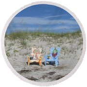 Painted Beach Chairs Round Beach Towel