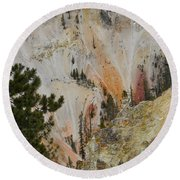Round Beach Towel featuring the photograph Painted Canyon At Lower Falls by Michele Myers