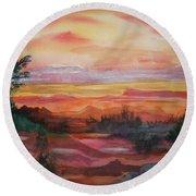 Painted Desert II Round Beach Towel by Ellen Levinson
