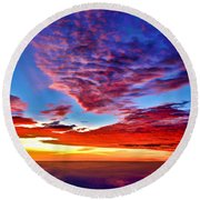 Round Beach Towel featuring the photograph Painted Heavens by Adam Olsen