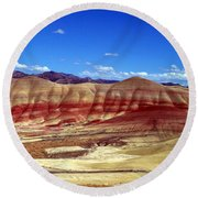 Round Beach Towel featuring the photograph Painted Hills by Chalet Roome-Rigdon