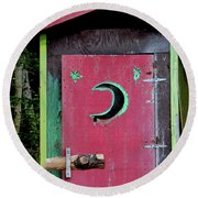 Painted Outhouse Round Beach Towel