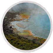 Round Beach Towel featuring the photograph Painted Pool Of Yellowstone by Michele Myers