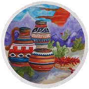 Painted Pots And Chili Peppers Round Beach Towel by Ellen Levinson