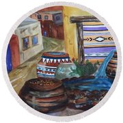 Painted Pots And Chili Peppers II  Round Beach Towel by Ellen Levinson