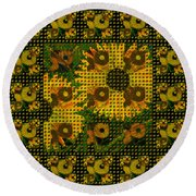 Painted Sunflower Abstract Round Beach Towel
