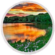 Painted Sunset Round Beach Towel