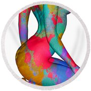 Painted Woman Round Beach Towel