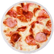 Round Beach Towel featuring the mixed media Painterly Pepperoni Pizza 1 by Andee Design