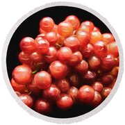 Painterly Red Grapes Round Beach Towel