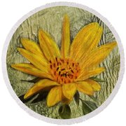 Painterly Sunflower Round Beach Towel