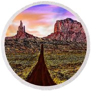 Painting Monument Valley At Sunset Round Beach Towel by Bob and Nadine Johnston